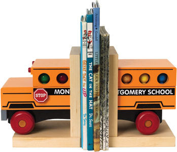 Maple Landmark 70216 Bookends, School Bus - Peazz Toys