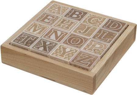 Maple Landmark 73071 ABC Blocks, Engraved, with Tray - Peazz Toys