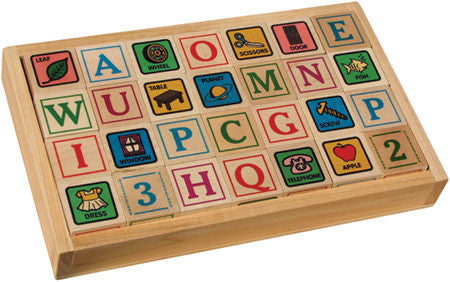 Maple Landmark 76021 ABC Blocks, Printed, with Tray - Peazz Toys