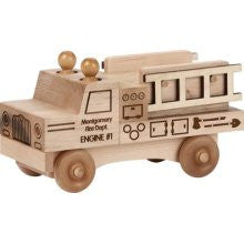 Maple Landmark 76211 Unfinished Classic, Fire Truck - Peazz Toys