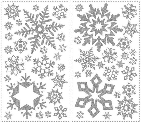 Glitter Snowflakes Peel & Stick Wall Decals (RMK1413SCS) - Peazz Toys