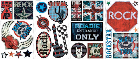 Boys Rock-n-Roll Peel & Stick Wall Decals (RMK1563SCS) - Peazz Toys