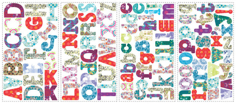 Boho Alphabet Peel & Stick Wall Decals (RMK1776SCS) - Peazz Toys