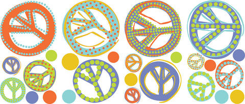 Mod Peace Signs Peel & Stick Wall Decals (RMK1859SCS) - Peazz Toys