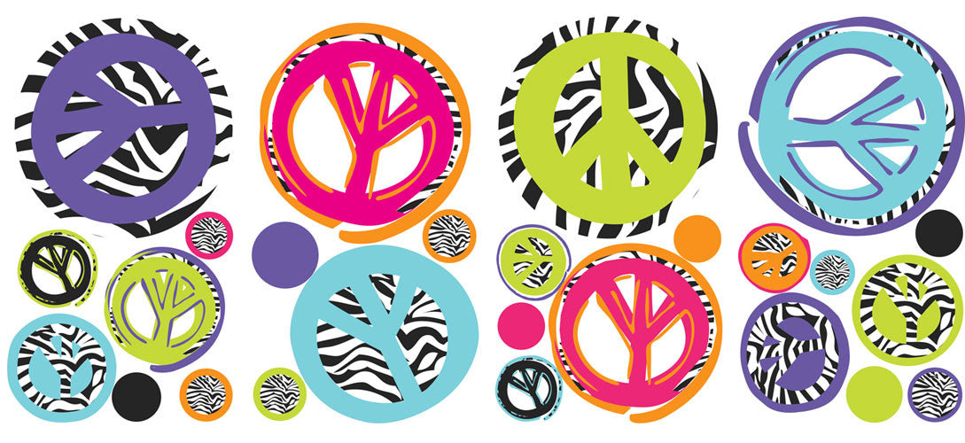 Zebra Peace Signs Peel & Stick Wall Decals (RMK1860SCS)
