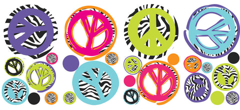Zebra Peace Signs Peel & Stick Wall Decals (RMK1860SCS) - Peazz Toys