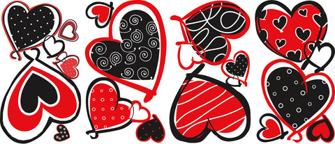 Mod Heart Peel & Stick Wall Decals (RMK1862SCS) - Peazz Toys