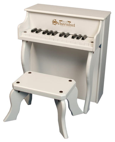 Schoenhut 25 Key Elite Spinet Upright Piano - White 2505W - Peazz Toys