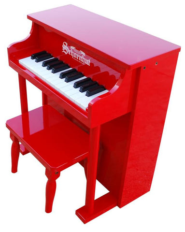 Schoenhut 25 Key Traditional Spinet Upright Piano - Red 6625R - Peazz Toys
