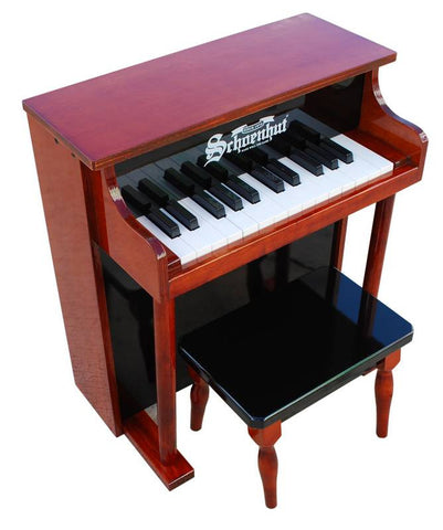 Schoenhut 25 Key Traditional Spinet Upright Piano - Mahogany/Black 6625MB - Peazz Toys