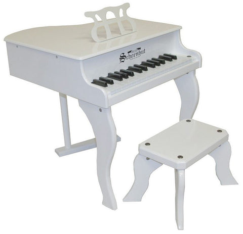 Schoenhut 30 Key Fancy Baby Grand Piano - White 3005W - Peazz Toys