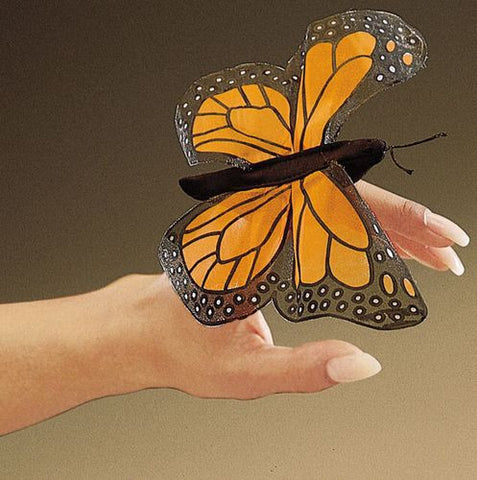 Folkmanis Mini Butterfly, Monarch Finger Puppet - 2156 - Peazz Toys