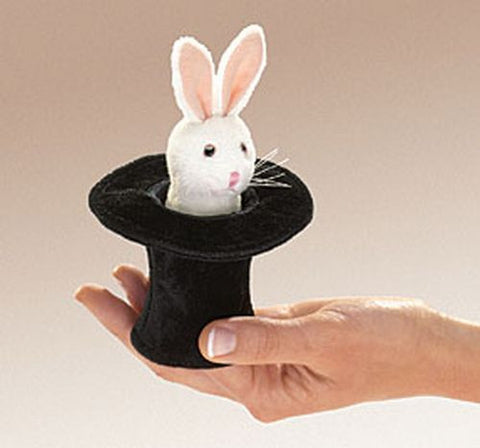Folkmanis Mini Rabbit In Hat Finger Puppet - 2709 - Peazz Toys