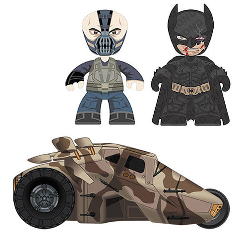 Mezco Toyz DC377002 Dark Knight Rises Mini Mez-Itz with Vehicle Exclusive Set - Bane & Damaged Battle Batman w/ Tumbler - Peazz Toys