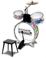The Original Toy Company JD4530 DRUM SET Bontempi Drum Set With Stool - Peazz Toys