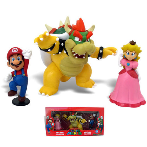 "Goldie Marketing GM010365 Super Mario 2"" Figure - Bowser 3-Pack - Peazz Toys"