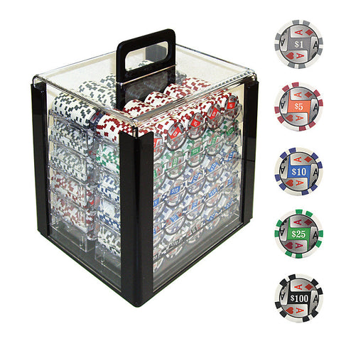 Trademark Commerce TMC-10-1003-1car 1000 4 Aces W/Denominations Poker Chips In Acrylic Carrier - Peazz Toys