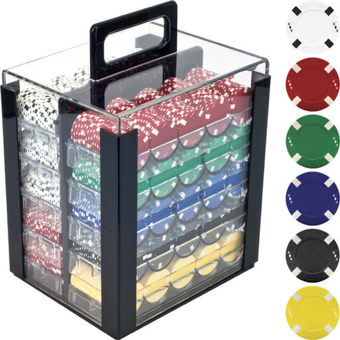 Trademark Commerce TMC-10-1700-1CAR 1000 Big Slick Texas Hold'Em Chips W/ Acrylic Carrier - Peazz Toys