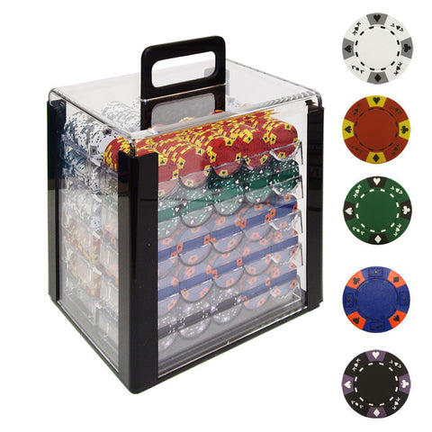 Trademark Commerce TMC-10-1850-1car 1000 14G Tri Color Ace/King Clay Poker Chips W/Acrylic Case - Peazz Toys