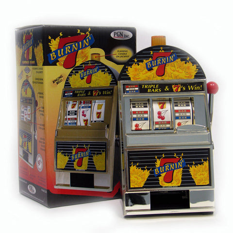 Trademark Commerce TMC-10-41221 Burning 7'S Slot Machine Bank W/ Spinning Reels - Peazz Toys