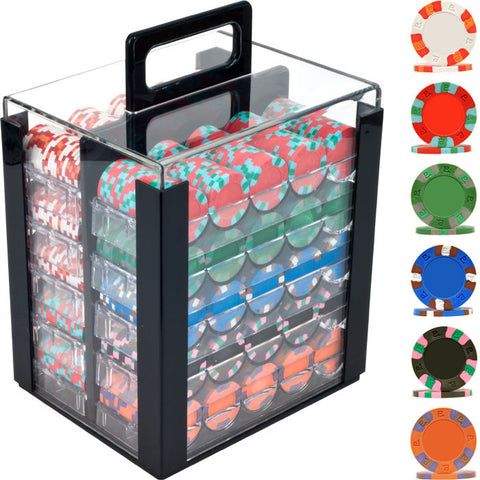 Trademark Commerce TMC-10-6002-1CAR 1000 NexGen Pro Classic Poker Chips W/ Acrylic Carrier - Peazz Toys
