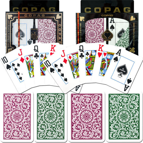 Trademark Commerce TMC-10-BP3420-2 Copag Poker & Bridge Jumbo Index - Green/Burgundy Set Of 2 - Peazz Toys