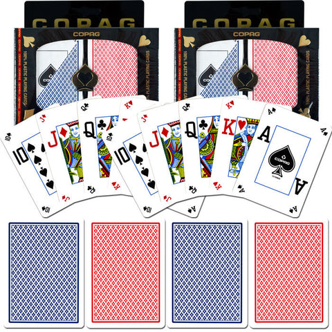Trademark Commerce TMC-10-P4507P-2 Copag Poker Size Peek Index - Blue/Red Set Of 2 - Peazz Toys