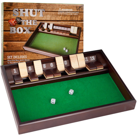 Trademark Commerce 80-1817 Shut The Box Game - 12 Numbers - Includes Dice - Peazz Toys