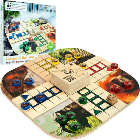 Trademark Commerce 80-89808 WWF Borneo & Sumatra Ludo From FSC Certified Wood - Peazz Toys