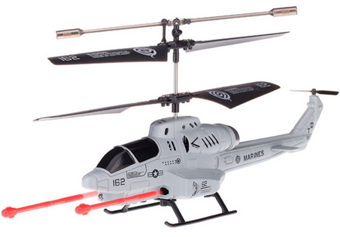 U809 Missile Launching 3.5ch Cobra Helicopter with Gyro - Gray - Peazz Toys