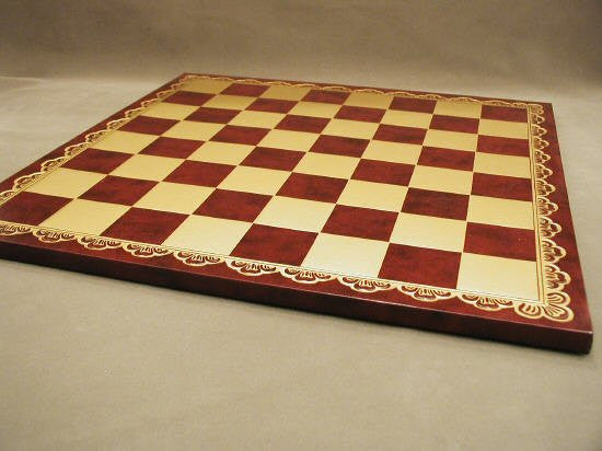 18 Pressed Leather Chess Board Burgundy and Gold 2 Squares