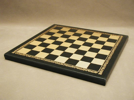 10 12 Pressed Leather Chess Board Black and Gold 1 Square
