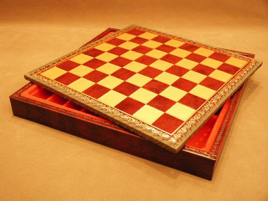11 Burgundy and Gold Pressed Leather Chess Board with Chest