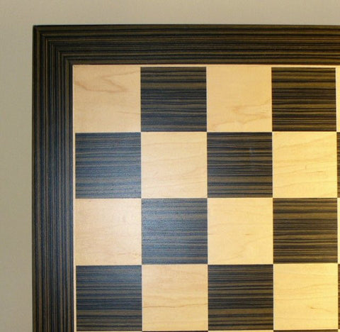 "14"" Ebony/Maple Veneer Chess Board, 1 1/2"" squares - Peazz Toys"
