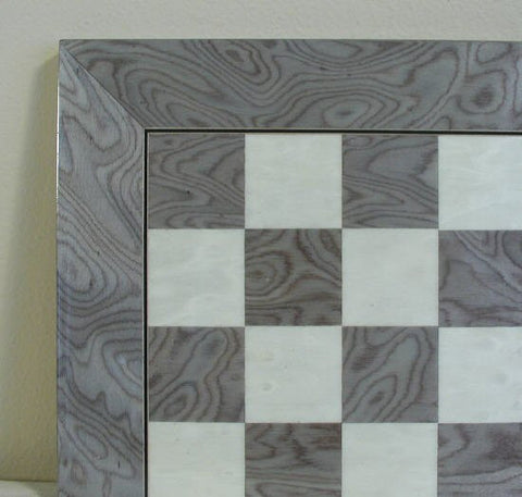 "17 3/10"" Glossy Wooden Chess Board, Briar Wood, Grey/Ivory, 1.5"" Squares - Peazz Toys"