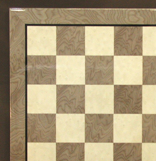 17 310 Glossy Wooden Chess Board Briar Wood Grey Ivory 2 Squares
