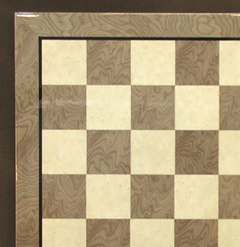 "17 3/10"" Glossy Wooden Chess Board, Briar Wood, Grey & Ivory, 2"" Squares - Peazz Toys"