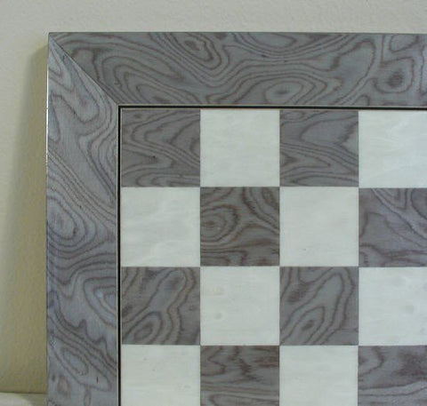 "21 1/2"" Glossy Wooden Chess Board, Briar wood with Grey & Ivory, 2 3/8"" Squares - Peazz Toys"