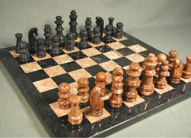 16 Marble Chess Set BlackTan with Black Frame 3 12 King