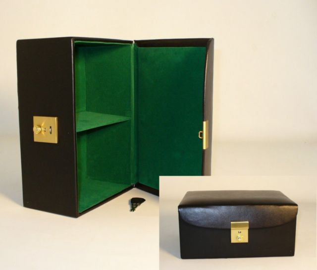 """Divided Black Vinyl Hinged Box, Fits Up To 4.25"""" King"""