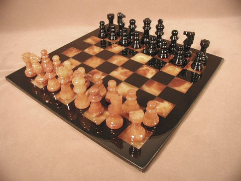 "Alabaster Chess Set with 14 1/2"" Black/Brown Chess Board, Black Frame, 3"" King - Peazz Toys"