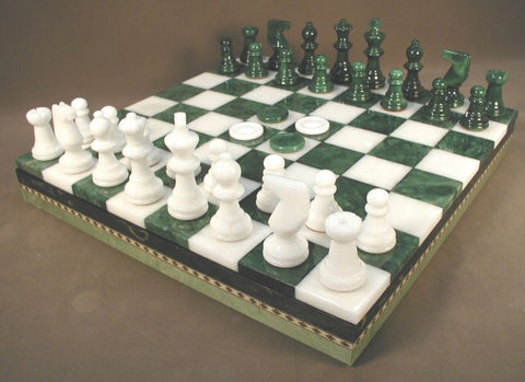 "13 1/2"" Alabaster Checkers & Chess Set in Inlaid Wood Chest; Green & White, 3"" King - Peazz Toys"