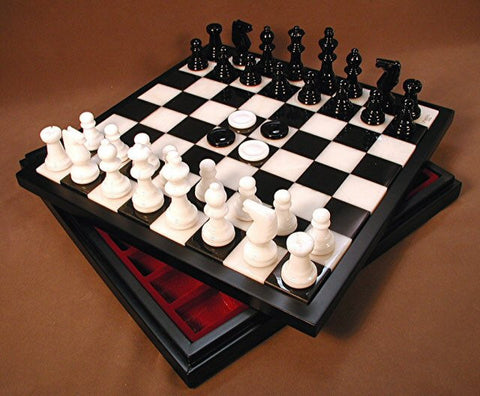 "14"" Alabaster Checkers & Chess Set with Storage, Wood Framed Board, Black & White, 3"" King - Peazz Toys"