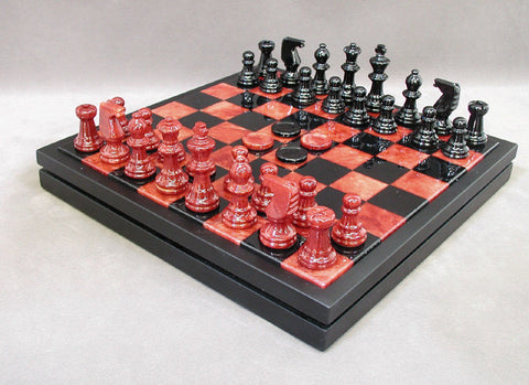 "Alabaster Chess & Checkers in Wood Chest, Wood Framed Board, Red/Black, 3"" King - Peazz Toys"