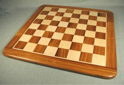 "21"" Sheesham and Maple Chess Board with Frame and Rounded Edge, 2 1/5"" Squares, 1"" Thick - Peazz Toys"