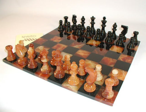 "14"" Alabaster Chess Set, Black/Brown Chess Board, 3"" King - Peazz Toys"