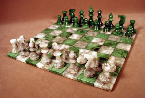 "14"" Alabaster Chess Set, Green/Grey Chess Board, 3"" King - Peazz Toys"