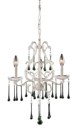 ELK Lighting Lighting 4001-3Lm Three Light Chandelier In Antique White And Lime Crystal - ELKLightingCenter - 1