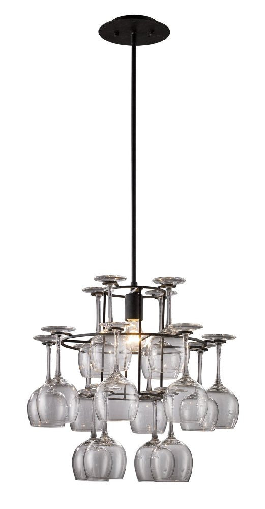 ELK Lighting Lighting 14040-1 Vintage One Light Chandelier In Dark Rust With Glass - ELKLightingCenter - 1
