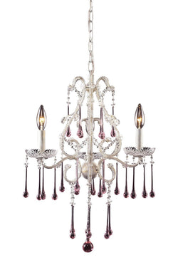 ELK Lighting Lighting 4001-3Rs Three Light Chandelier In Antique White And Rose Crystal - ELKLightingCenter - 1